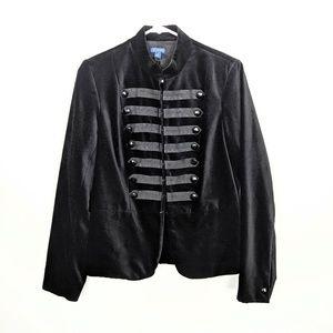 J. McLaughlin Military Velour Jacket Blazer Black